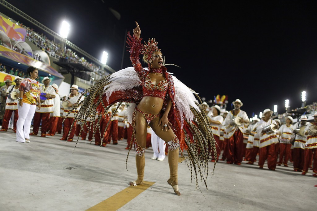 A reveller from the Alegria da Zona Sul samba school takes part in the Group A category of the annual Carnival parade in Rio de Janeiro's Sambadrome