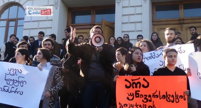 """""""უნივერსიტეტი სტუდენტებს""""! – აქცია თსუ-ში ➤ ვიდეო"""
