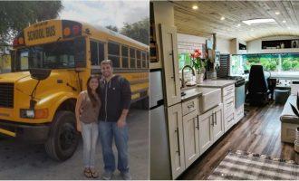 ამერიკელმა წყვილმა სკოლის ძველი ავტობუსი ძვირადღირებულ სახლად აქცია