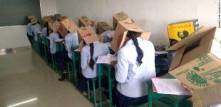ინდოეთში გამოცდაზე სტუდენტებს თავზე მუყაოს ყუთები დააფარეს
